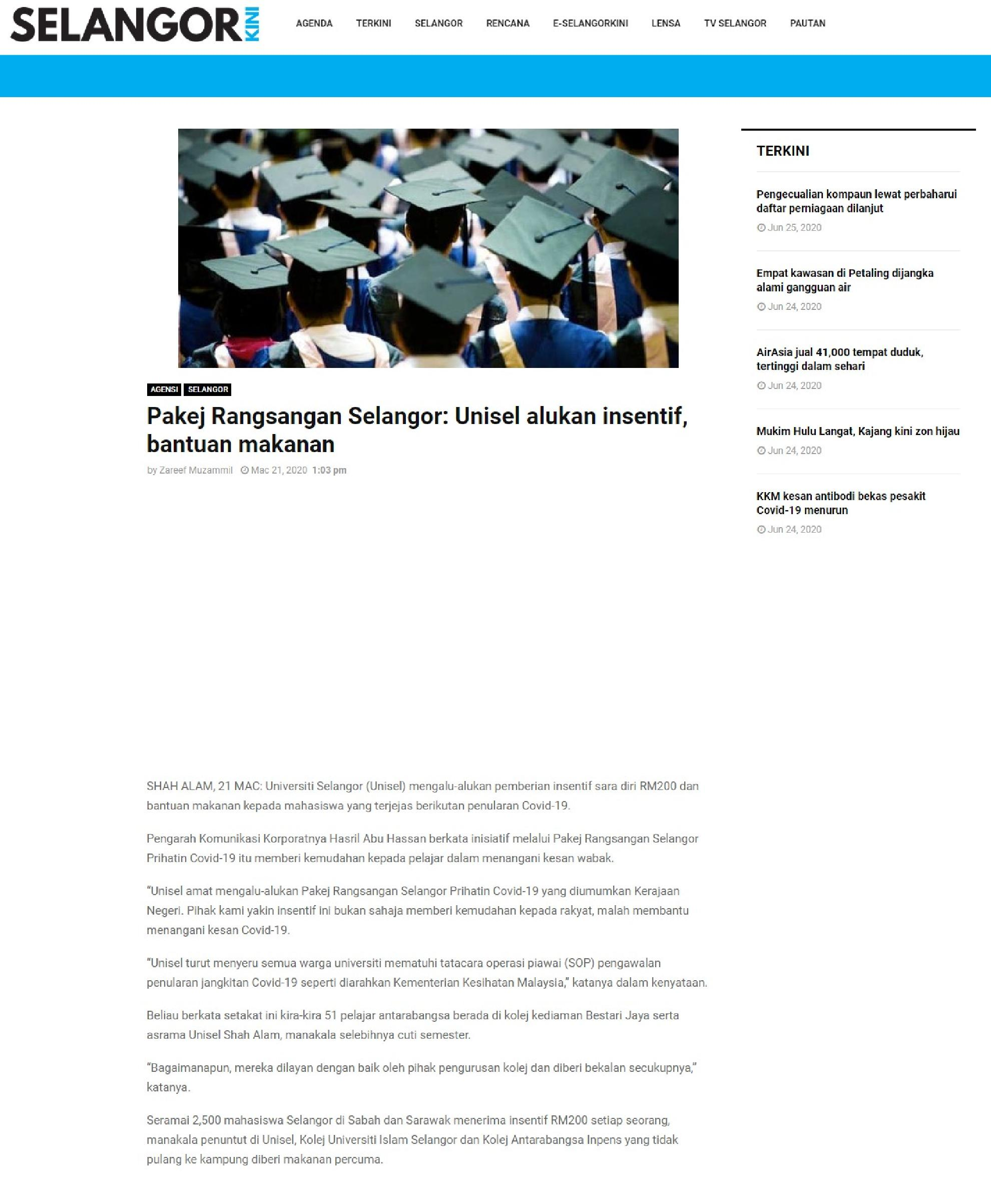 Selangorkini 21 Mac 2020