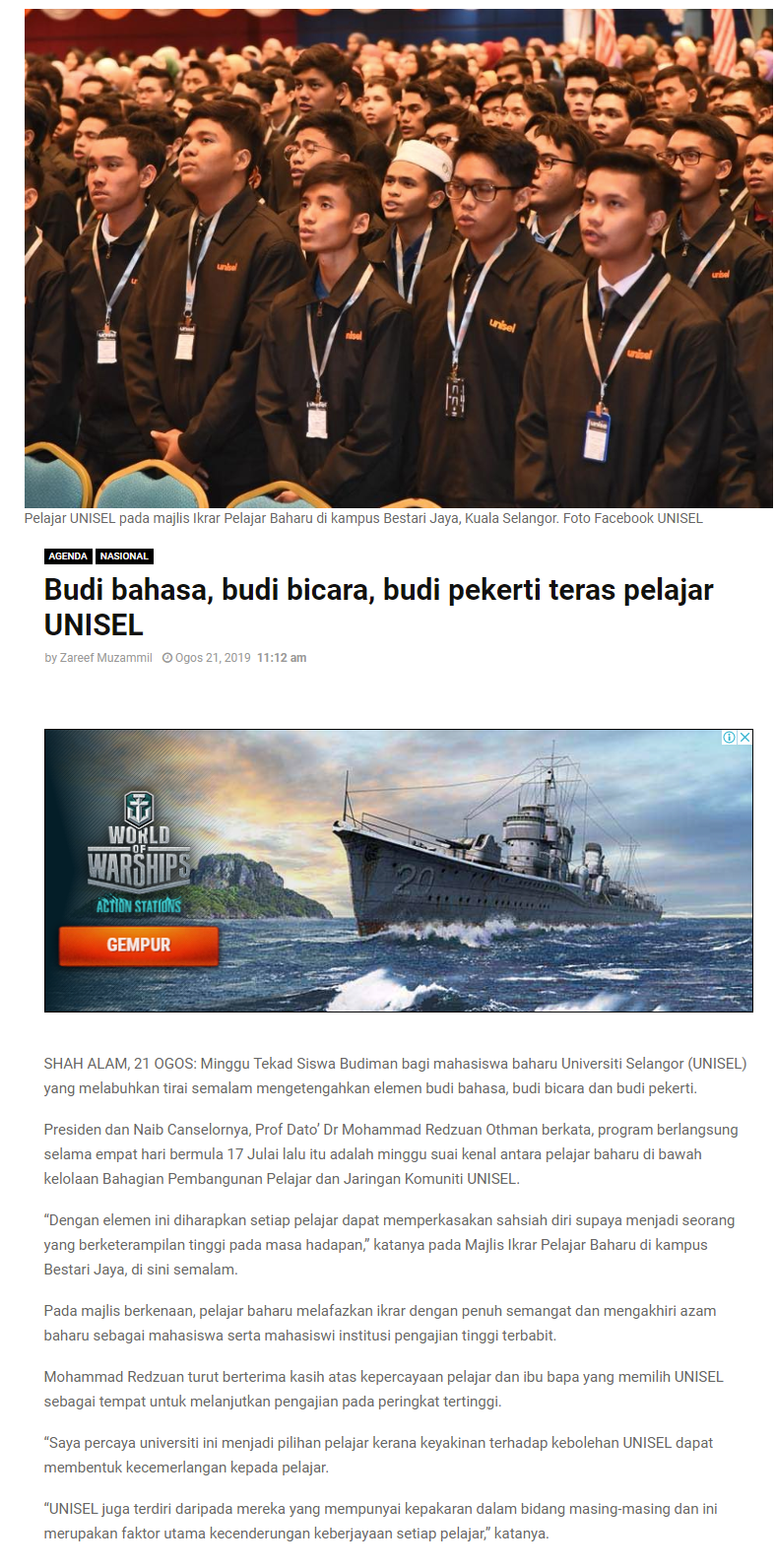Selangor Kini (Online) 21 Ogos 2019