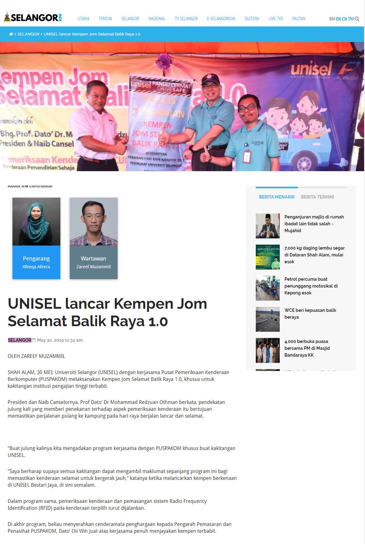 Selangor Kini (Online) 30 Mei 2019