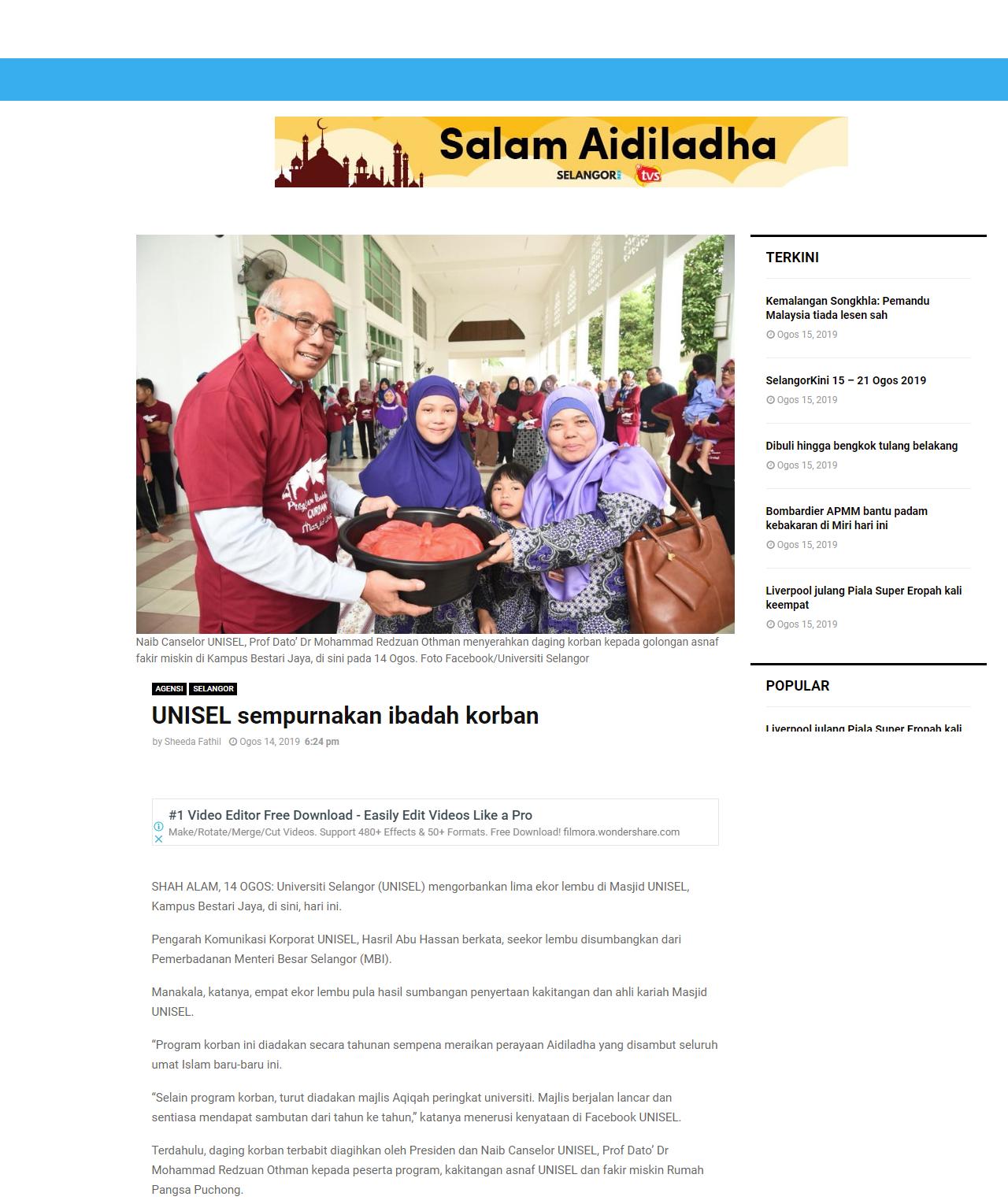 Selangor Kini (Online) 14 Ogos 2019