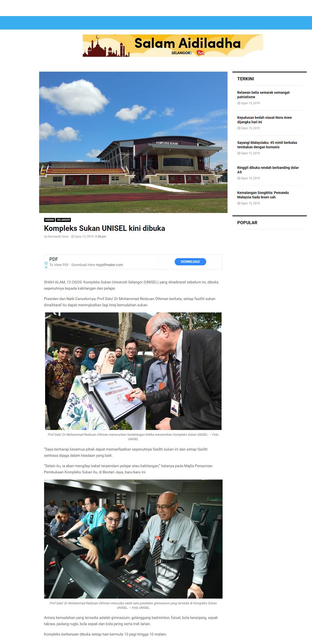 Selangor Kini (Online) 13 Ogos 2019