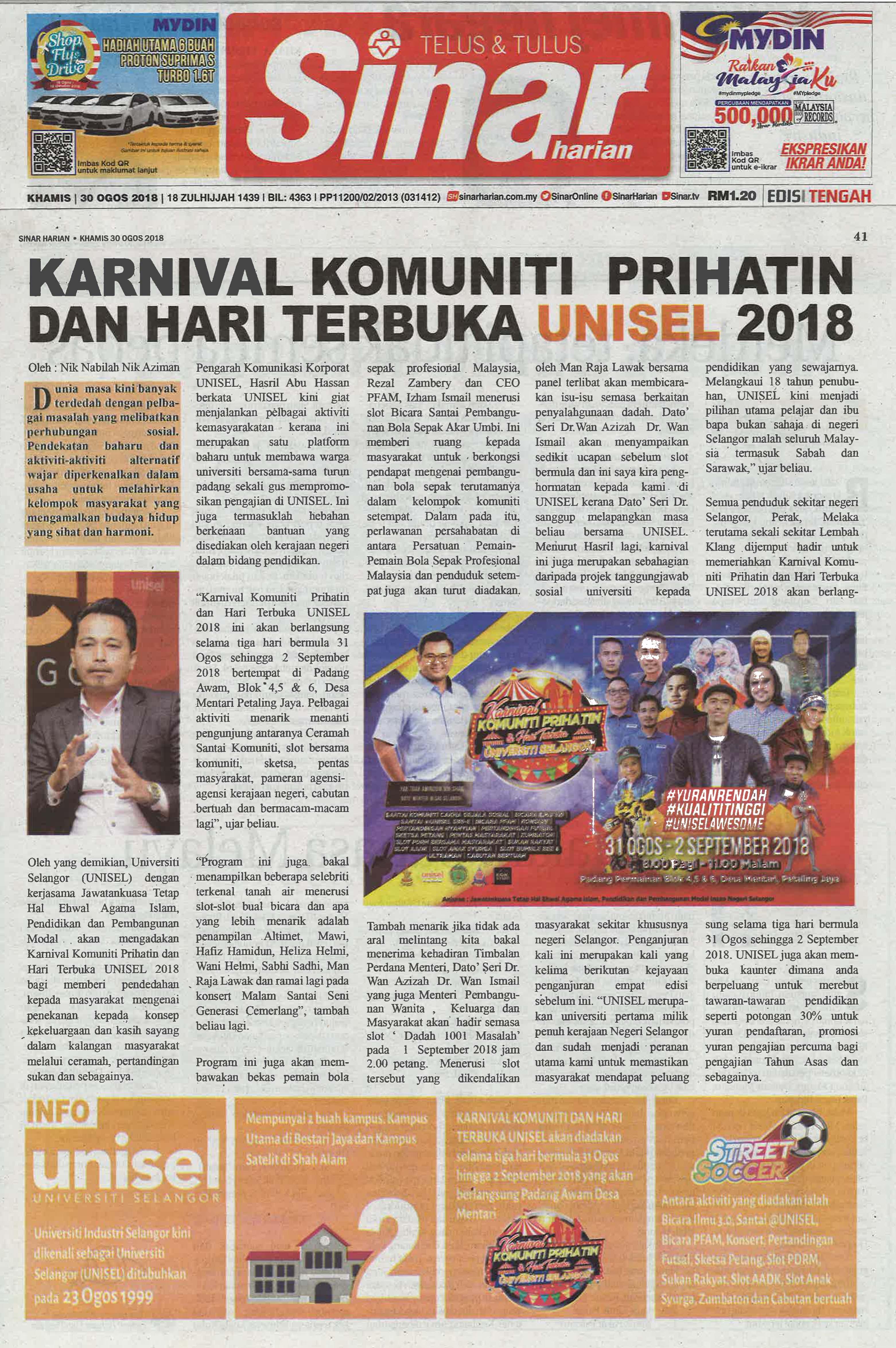 Sinar Harian - 30 Ogos 2018