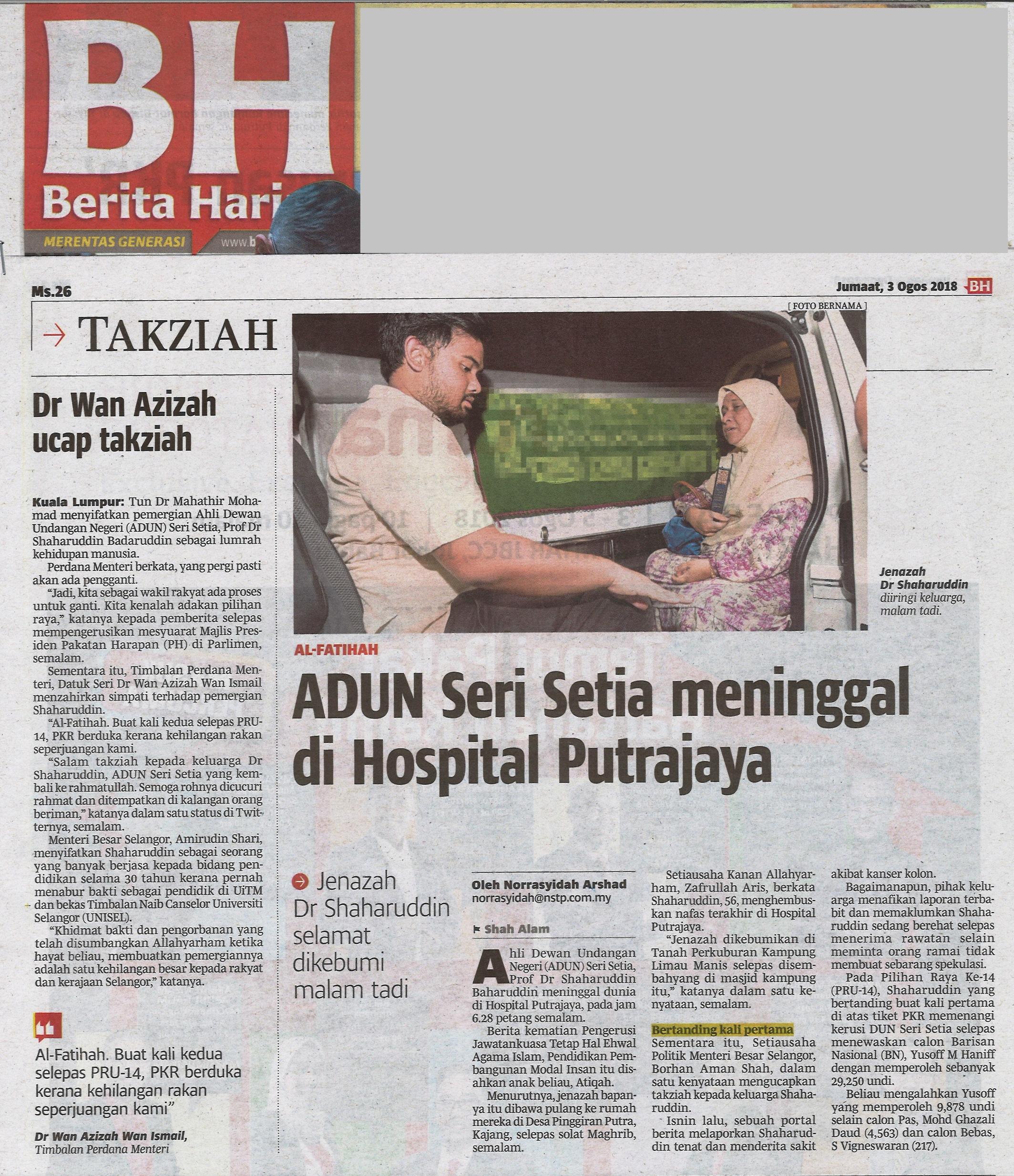 Berita Harian - 3 Ogos 2018 (Jumaat)