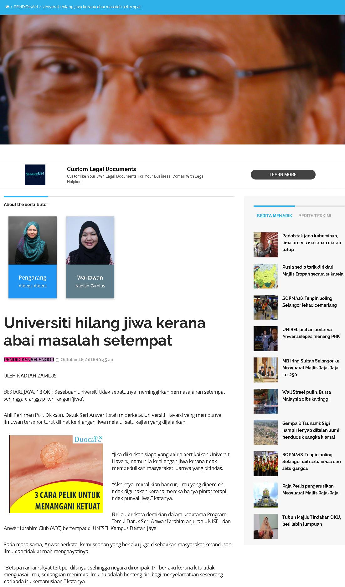 Selangor Kini Online - 18 Oktober 2018